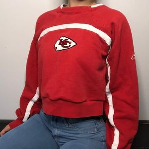 NFL Chiefs Cropped Crew Neck Sweater